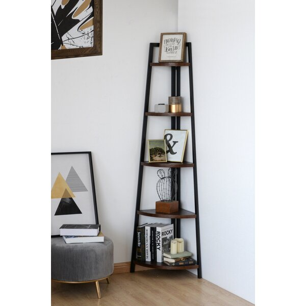 Hideaway Wood And Metal Corner Bookcase By Williston Forge