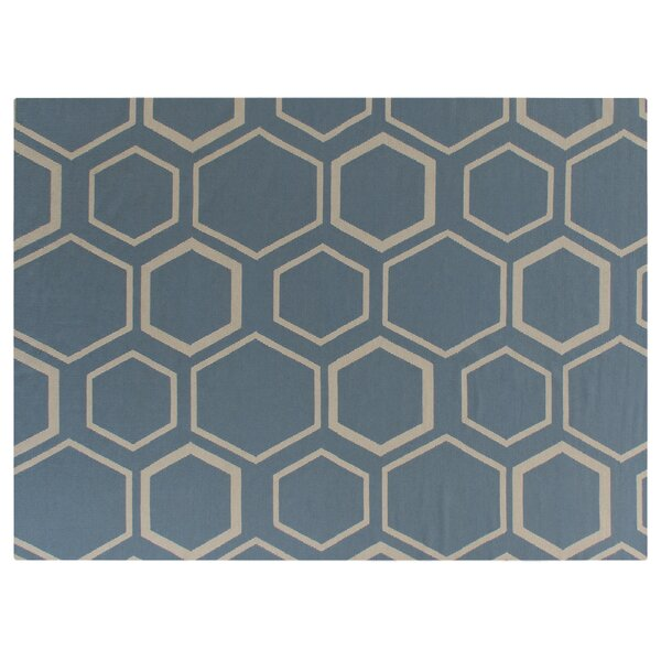 Hand-Woven Wool Turquoise/White Area Rug by Exquisite Rugs