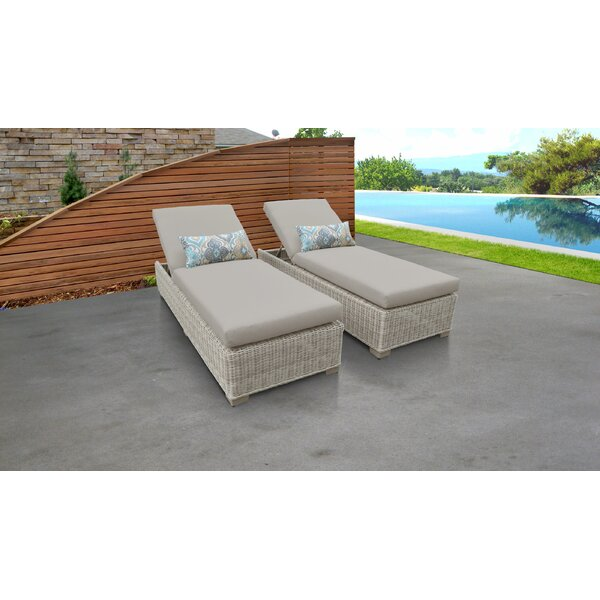 Claire Sun Lounger Set with Cushion and Table (Set of 2)