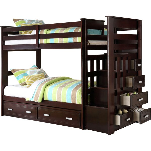 Thursten Twin over Twin Bunk Bed with 5 Drawers by Harriet Bee