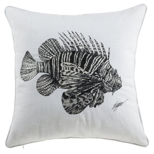 Bublitz Fish Sea Creatures Cotton Throw Pillow by Highland Dunes