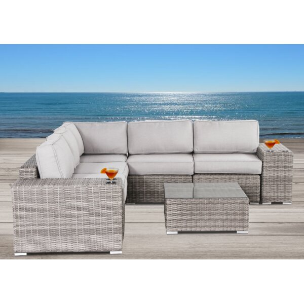 Hoyle 8 Piece Rattan Sectional Seating Group with Cushions by Rosecliff Heights