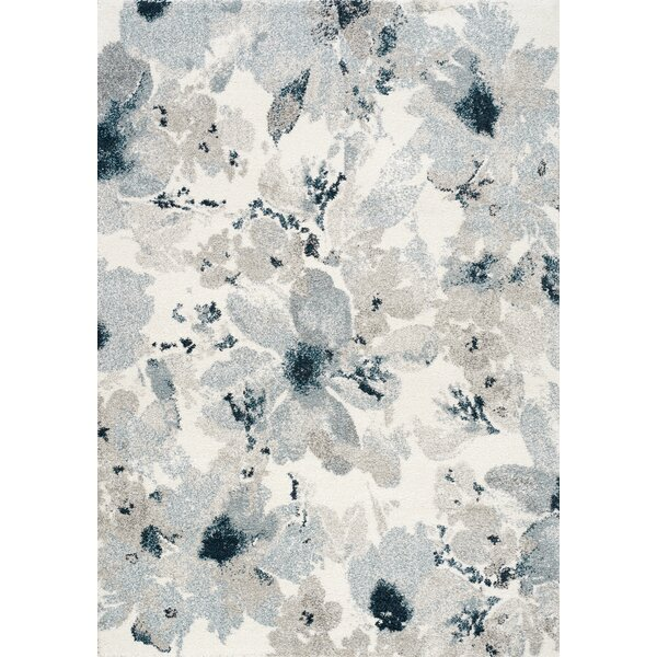 Mckenzie Floral Pattern Gray/Cream Area Rug by World Menagerie