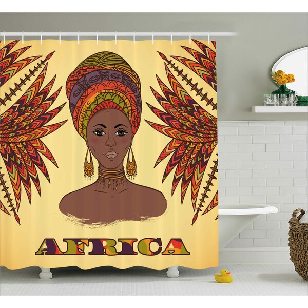 Kowloon African Ethnic Woman Shower Curtain by World Menagerie