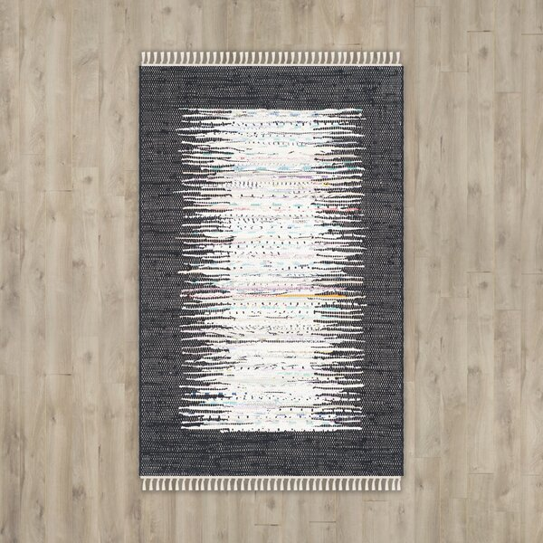 Ona Hand-Woven Cotton White/Black Area Rug by Beachcrest Home