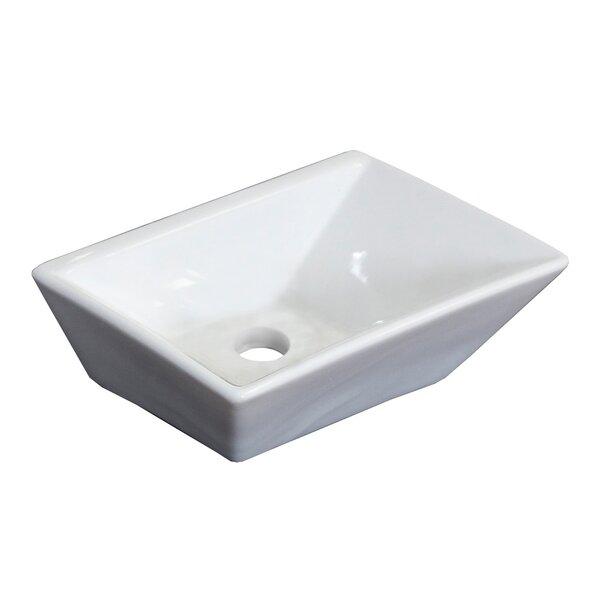 Emily Ceramic Rectangular Vessel Bathroom Sink with Overflow by Royal Purple Bath Kitchen