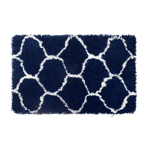 Alfred Chunky Shag White/Indigo Area Rug by Vista Living