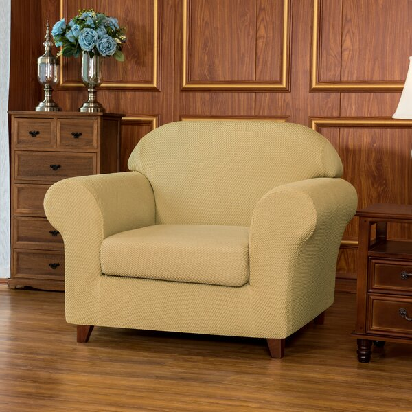 Soft Jacquard Stretch Removable Fitted Box Cushion Armchair Slipcover By Winston Porter