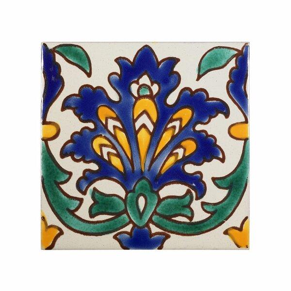 Mediterranean 4 x 4 Ceramic Andalusia  Decorative Tile in Blue by Casablanca Market