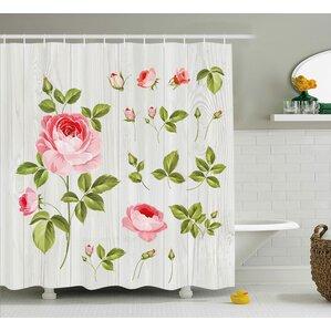 Amazing Burmuda Vintage Rose Petals Leaf Shower Curtain