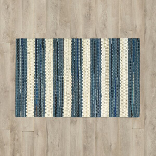 Mayfair Stripe Blue/Cream Area Rug by Breakwater Bay
