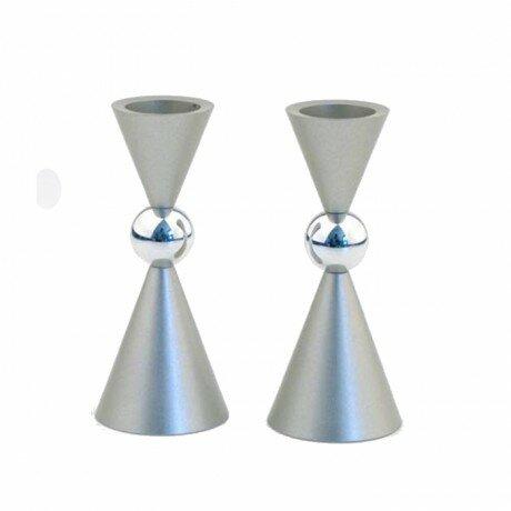 Aluminum Mini Ball Candlestick (Set of 2) by Ebern Designs