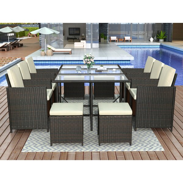 Annunzjato 11 Piece Dining Set with Cushions