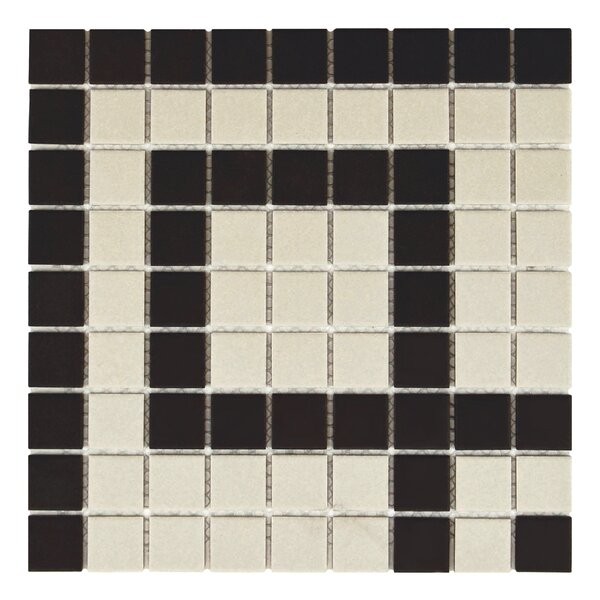 New York 1 x 1 Porcelain Mosaic Tile in Black/Beige by EliteTile