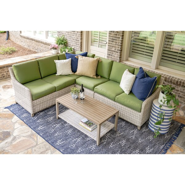 Parsons 5 Piece Rattan Sectional Seating Group With Cushions by Rosecliff Heights