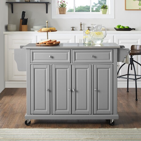 Hedon Kitchen Island With Stainless Steel Top By Three Posts Design