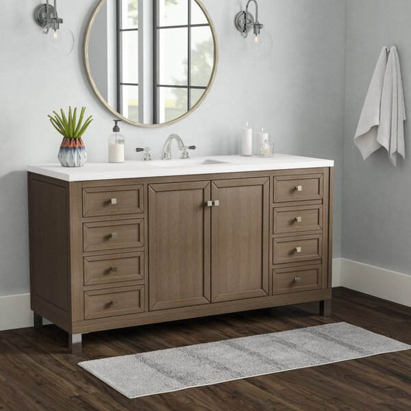 Valladares 60 Single White Washed Walnut Bathroom Vanity Set by Brayden Studio