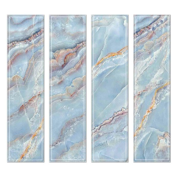 Crystal 3 x 12 Beveled Glass Subway Tile in Blue/Gray by Upscale Designs by EMA