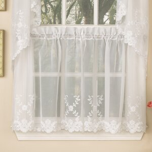 Laurel Leaf Sheer Voile Embroidered Kitchen Tier Curtain (Set of 2)