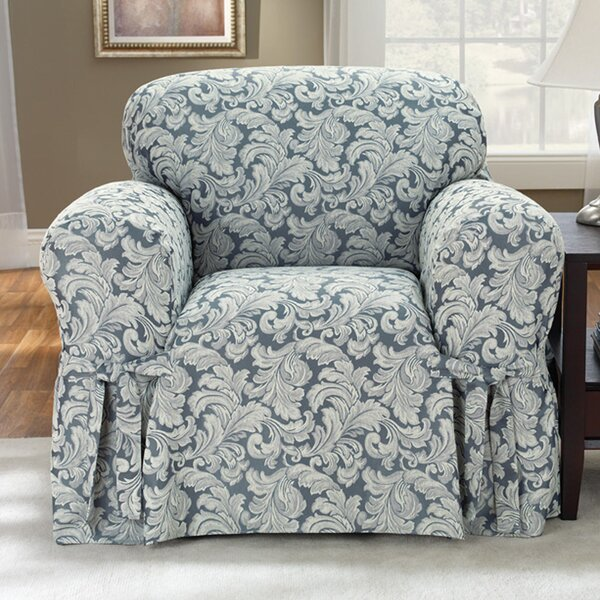 Sure Fit Scroll Classic Box Cushion Armchair Slipcover