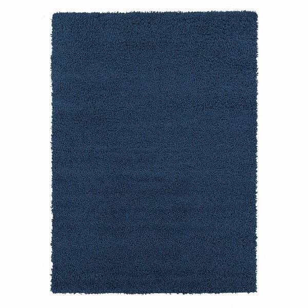Yarborough Solid Design Contemporary Shag Navy Area Rug by Winston Porter
