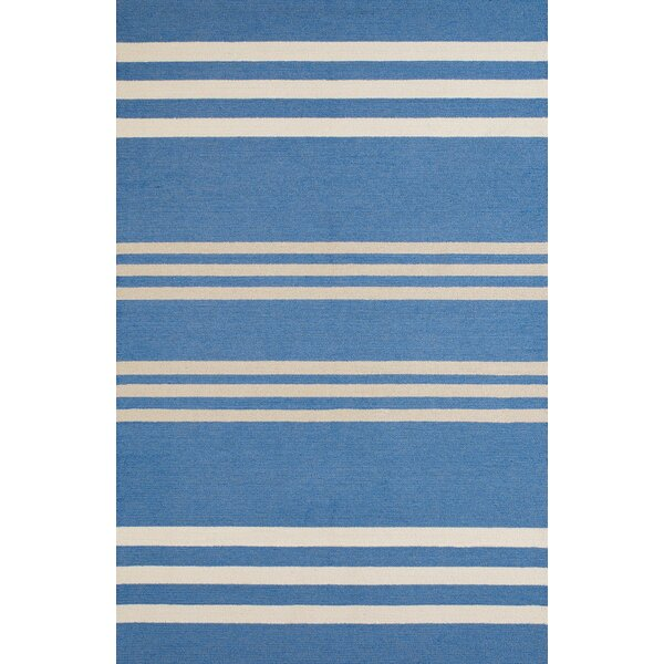 Parallel Hand-Woven Blue/White Indoor/Outdoor Area Rug by Panama Jack Home