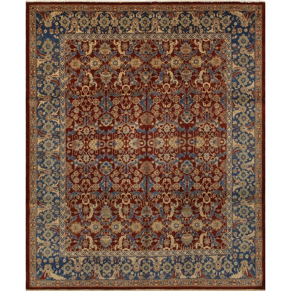 Clerkin Hand Knotted Rectangle Wool Red/Blue Area Rug by Astoria Grand