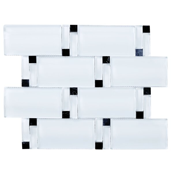 Random Sized Mixed Material Tile in White/Black by Multile