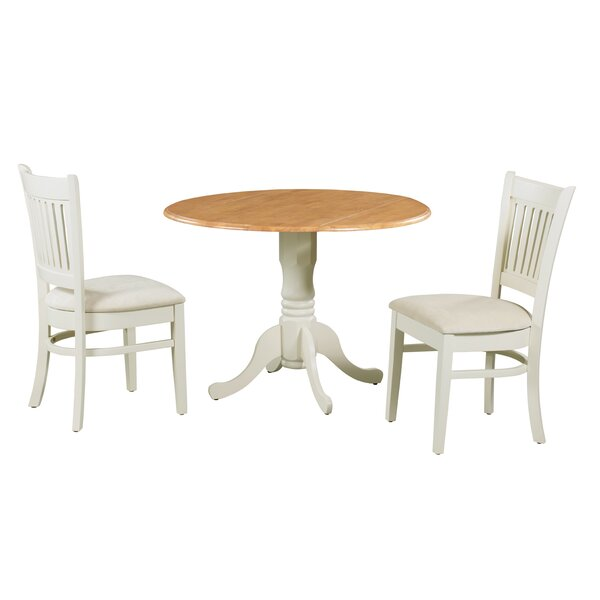 Ansonia 3 Piece Drop Leaf Solid Wood Dining Set by August Grove August Grove