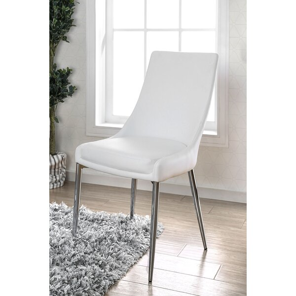 Grandin Upholstered Metal Side Chair in White & Silver (Set of 2) by Orren Ellis Orren Ellis