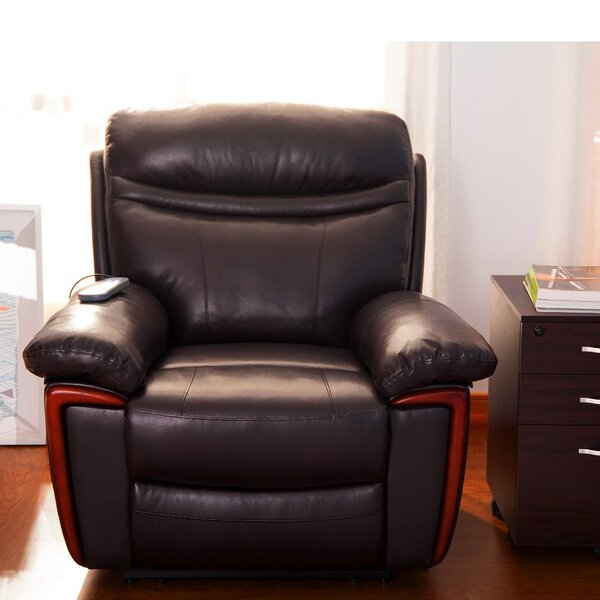 Retherford Faux Leather Manual Recliner with Massage W003407872
