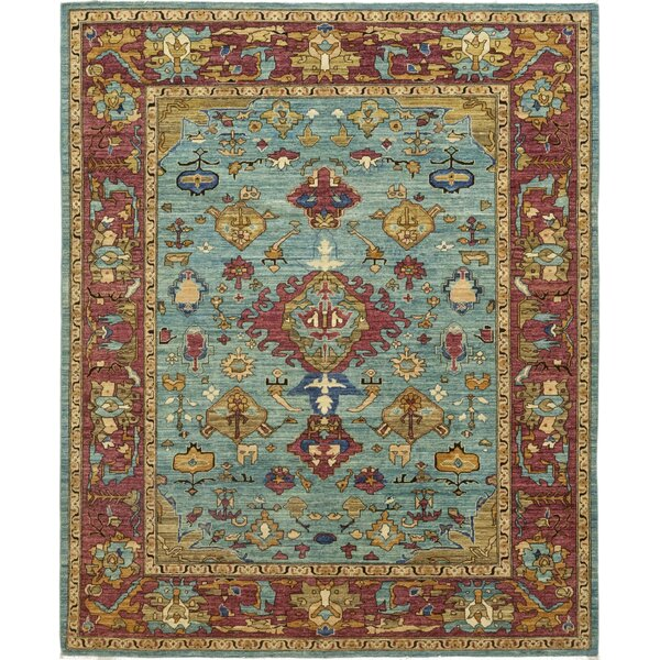 One-of-a-Kind Heimbach Hand-Knotted Wool Red/Teal Indoor Area Rug by Bloomsbury Market