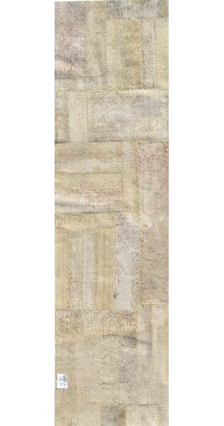 Patchwork Hand Knotted Wool Beige Area Rug by Pasargad
