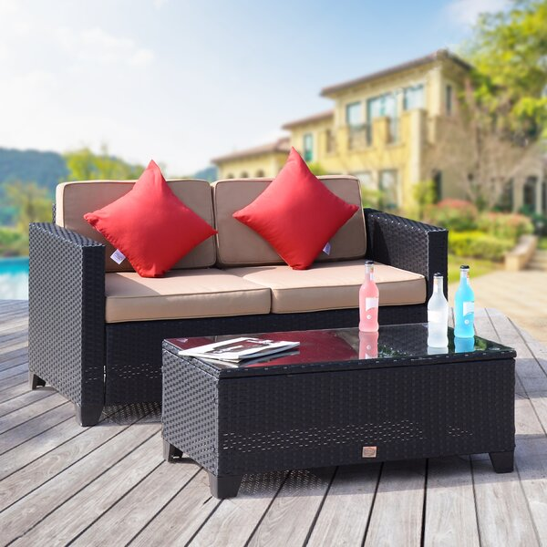 Julia 2 Piece Rattan Sofa Set with Cushions by Ebern Designs