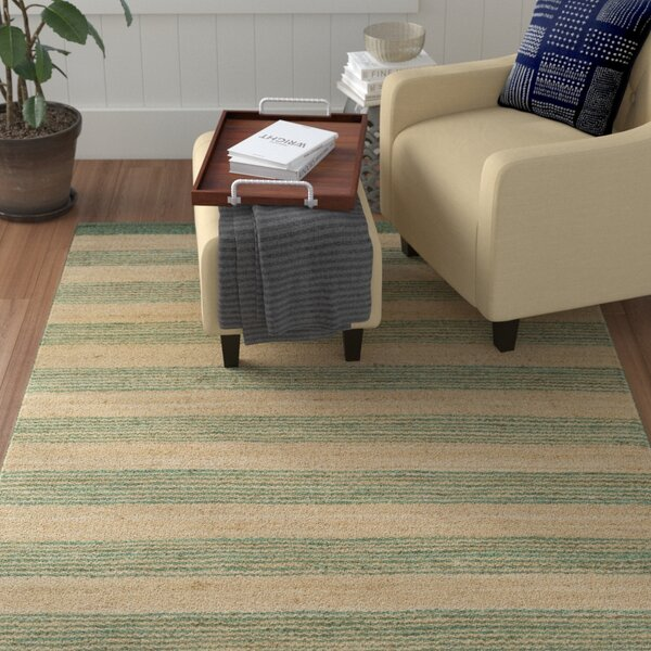 Ayling Hand-Woven Teal/Natural Area Rug by Winston Porter