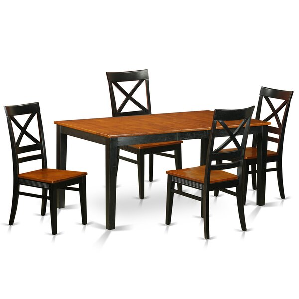 Pillar Traditional 5 Piece Dining Set with Rectangular Table Top by August Grove