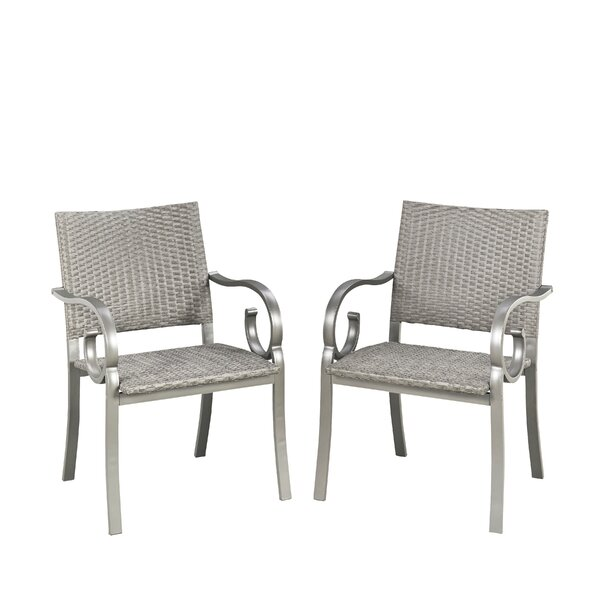 Saladino Stacking Patio Dining Chair (Set of 2) by Fleur De Lis Living