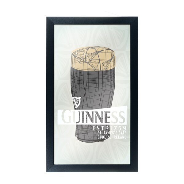 Guinness Line Art Pint Framed Logo Accent Mirror by Trademark Global