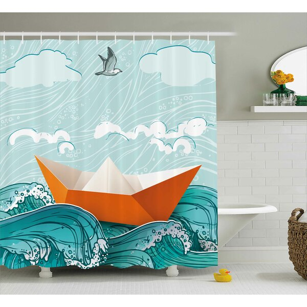 Paper Sail Ship Shower Curtain by East Urban Home