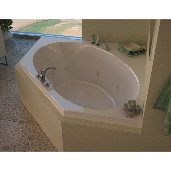 Tortola 58 x 58 Corner Air & Whirlpool Jetted Bathtub with Center Drain by Spa Escapes