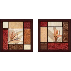 'Essence of the Tropics' 2 Piece Framed Acrylic Painting Print Set Under Glass by Andover Mills