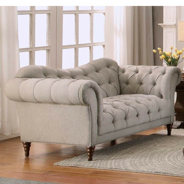 Excellent Reviews Alicia Button Tufted Loveseat by Rosdorf Park by Rosdorf Park
