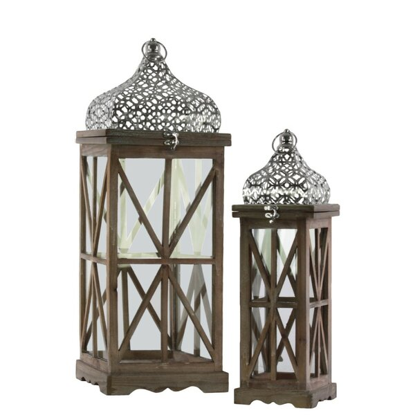Square 2 Piece Wood Lantern Set by World Menagerie