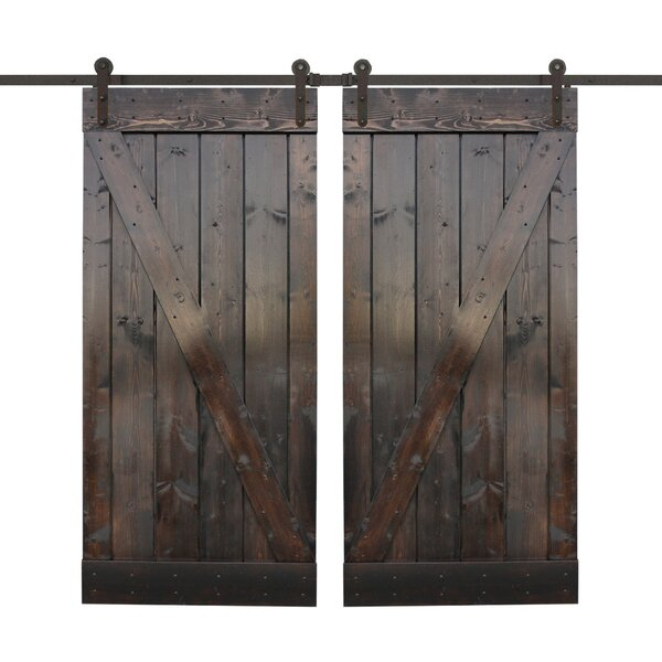 Z Bar Solid Wood Panelled Wood Slab Interior Door (Set of 2) by Calhome
