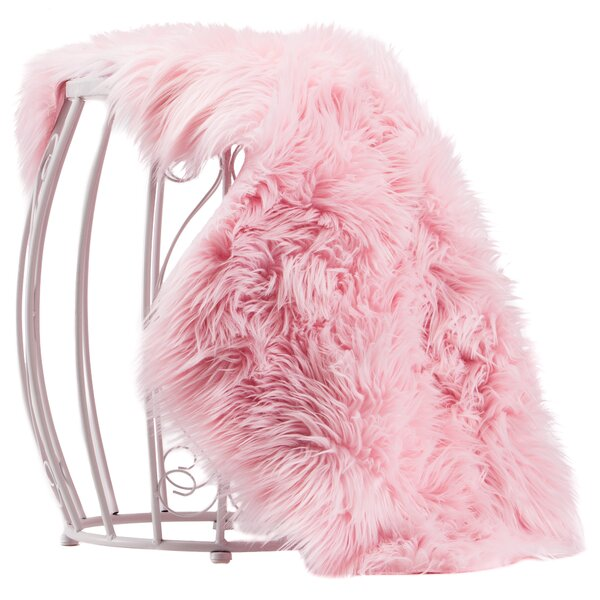 Lucille Faux Sheepskin Pink Indoor/Outdoor Area Rug by House of Hampton