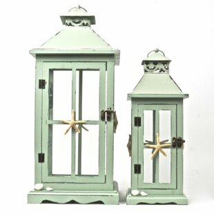 Online Reviews 2 Piece Wood/Metal Lantern Set By Rosecliff Heights