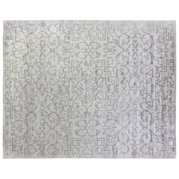 Hand-Knotted Wool/Silk Beige Area Rug by Exquisite Rugs