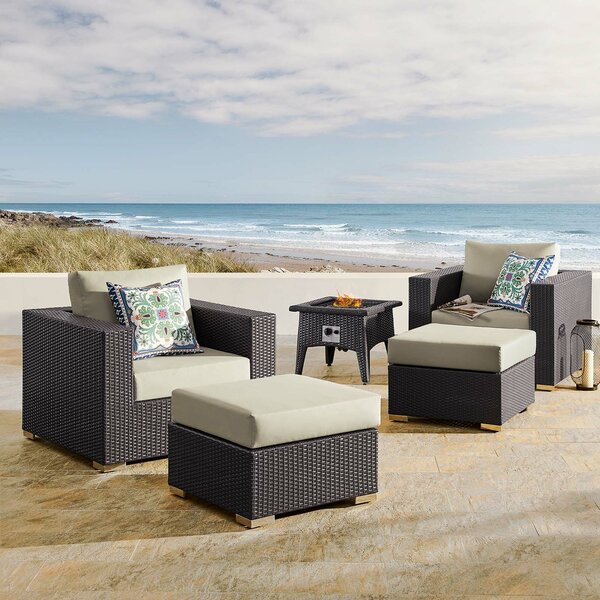 Brentwood 5 Piece Sectional Seating Group with Cushions by Sol 72 Outdoor