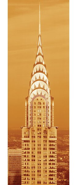 Chrysler Building at Sunset in Sepia, New York City, New York, USA Photographic Print on Wrapped Canvas by East Urban Home