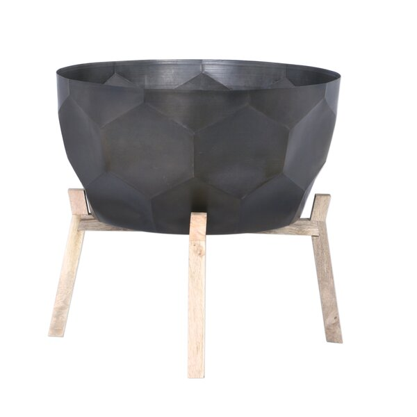 Lavallee Iron and Wood Pot Planter by Loon Peak